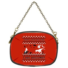 I Wasn t Good This Year, I Was Awesome! Ugly Holiday Christmas Red Background Chain Purses (Two Sides)