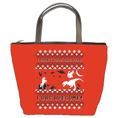 I Wasn t Good This Year, I Was Awesome! Ugly Holiday Christmas Red Background Bucket Bags