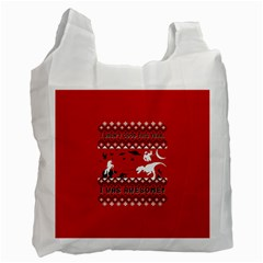 I Wasn t Good This Year, I Was Awesome! Ugly Holiday Christmas Red Background Recycle Bag (Two Side)