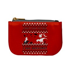 I Wasn t Good This Year, I Was Awesome! Ugly Holiday Christmas Red Background Mini Coin Purses