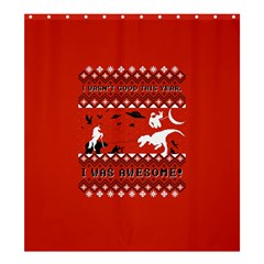 I Wasn t Good This Year, I Was Awesome! Ugly Holiday Christmas Red Background Shower Curtain 66  x 72  (Large)