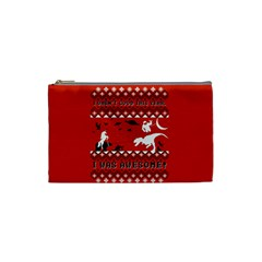 I Wasn t Good This Year, I Was Awesome! Ugly Holiday Christmas Red Background Cosmetic Bag (Small)