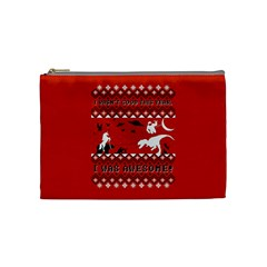 I Wasn t Good This Year, I Was Awesome! Ugly Holiday Christmas Red Background Cosmetic Bag (Medium)
