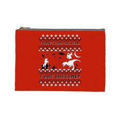 I Wasn t Good This Year, I Was Awesome! Ugly Holiday Christmas Red Background Cosmetic Bag (Large)
