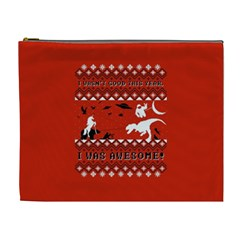 I Wasn t Good This Year, I Was Awesome! Ugly Holiday Christmas Red Background Cosmetic Bag (XL)
