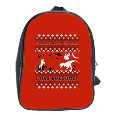 I Wasn t Good This Year, I Was Awesome! Ugly Holiday Christmas Red Background School Bags(Large)