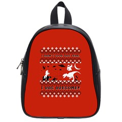 I Wasn t Good This Year, I Was Awesome! Ugly Holiday Christmas Red Background School Bags (Small)