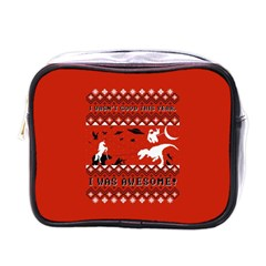 I Wasn t Good This Year, I Was Awesome! Ugly Holiday Christmas Red Background Mini Toiletries Bags