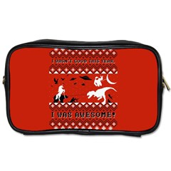 I Wasn t Good This Year, I Was Awesome! Ugly Holiday Christmas Red Background Toiletries Bags
