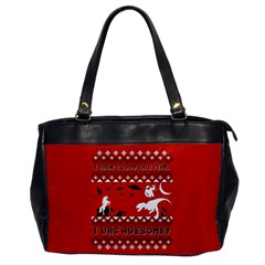 I Wasn t Good This Year, I Was Awesome! Ugly Holiday Christmas Red Background Office Handbags