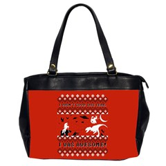 I Wasn t Good This Year, I Was Awesome! Ugly Holiday Christmas Red Background Office Handbags (2 Sides)