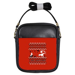 I Wasn t Good This Year, I Was Awesome! Ugly Holiday Christmas Red Background Girls Sling Bags