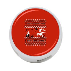 I Wasn t Good This Year, I Was Awesome! Ugly Holiday Christmas Red Background 4-Port USB Hub (One Side)