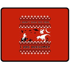 I Wasn t Good This Year, I Was Awesome! Ugly Holiday Christmas Red Background Fleece Blanket (Medium)