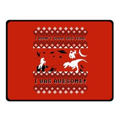 I Wasn t Good This Year, I Was Awesome! Ugly Holiday Christmas Red Background Fleece Blanket (Small)