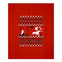 I Wasn t Good This Year, I Was Awesome! Ugly Holiday Christmas Red Background Shower Curtain 60  x 72  (Medium)