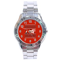 I Wasn t Good This Year, I Was Awesome! Ugly Holiday Christmas Red Background Stainless Steel Analogue Watch