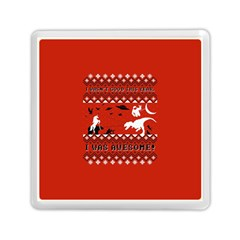 I Wasn t Good This Year, I Was Awesome! Ugly Holiday Christmas Red Background Memory Card Reader (Square)