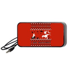 I Wasn t Good This Year, I Was Awesome! Ugly Holiday Christmas Red Background Portable Speaker (Black)