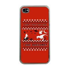 I Wasn t Good This Year, I Was Awesome! Ugly Holiday Christmas Red Background Apple iPhone 4 Case (Clear)