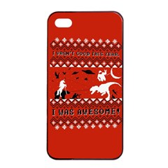 I Wasn t Good This Year, I Was Awesome! Ugly Holiday Christmas Red Background Apple iPhone 4/4s Seamless Case (Black)