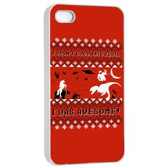 I Wasn t Good This Year, I Was Awesome! Ugly Holiday Christmas Red Background Apple iPhone 4/4s Seamless Case (White)