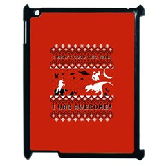 I Wasn t Good This Year, I Was Awesome! Ugly Holiday Christmas Red Background Apple iPad 2 Case (Black)