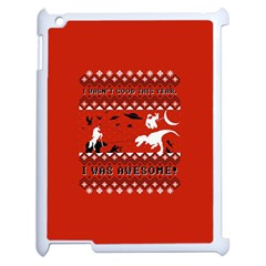 I Wasn t Good This Year, I Was Awesome! Ugly Holiday Christmas Red Background Apple iPad 2 Case (White)