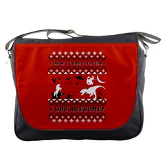 I Wasn t Good This Year, I Was Awesome! Ugly Holiday Christmas Red Background Messenger Bags