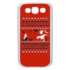 I Wasn t Good This Year, I Was Awesome! Ugly Holiday Christmas Red Background Samsung Galaxy S III Case (White)