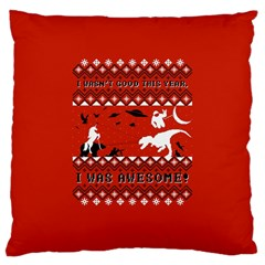 I Wasn t Good This Year, I Was Awesome! Ugly Holiday Christmas Red Background Large Cushion Case (One Side)
