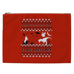 I Wasn t Good This Year, I Was Awesome! Ugly Holiday Christmas Red Background Cosmetic Bag (XXL)