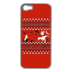 I Wasn t Good This Year, I Was Awesome! Ugly Holiday Christmas Red Background Apple iPhone 5 Case (Silver)