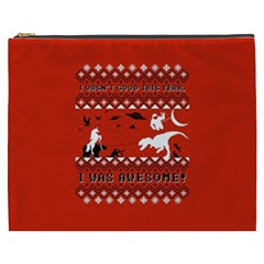 I Wasn t Good This Year, I Was Awesome! Ugly Holiday Christmas Red Background Cosmetic Bag (XXXL)