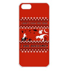 I Wasn t Good This Year, I Was Awesome! Ugly Holiday Christmas Red Background Apple iPhone 5 Seamless Case (White)