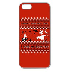 I Wasn t Good This Year, I Was Awesome! Ugly Holiday Christmas Red Background Apple Seamless iPhone 5 Case (Clear)