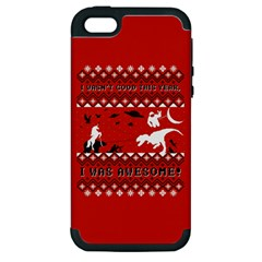 I Wasn t Good This Year, I Was Awesome! Ugly Holiday Christmas Red Background Apple iPhone 5 Hardshell Case (PC+Silicone)