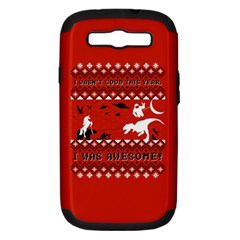 I Wasn t Good This Year, I Was Awesome! Ugly Holiday Christmas Red Background Samsung Galaxy S III Hardshell Case (PC+Silicone)
