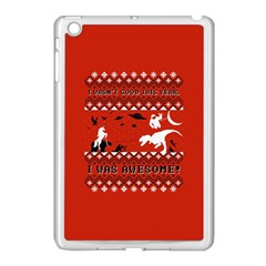 I Wasn t Good This Year, I Was Awesome! Ugly Holiday Christmas Red Background Apple iPad Mini Case (White)