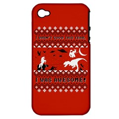I Wasn t Good This Year, I Was Awesome! Ugly Holiday Christmas Red Background Apple iPhone 4/4S Hardshell Case (PC+Silicone)