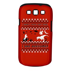 I Wasn t Good This Year, I Was Awesome! Ugly Holiday Christmas Red Background Samsung Galaxy S III Classic Hardshell Case (PC+Silicone)