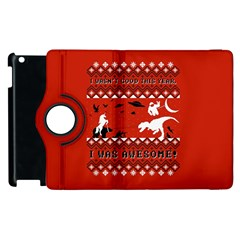 I Wasn t Good This Year, I Was Awesome! Ugly Holiday Christmas Red Background Apple iPad 2 Flip 360 Case