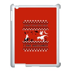 I Wasn t Good This Year, I Was Awesome! Ugly Holiday Christmas Red Background Apple iPad 3/4 Case (White)