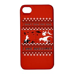 I Wasn t Good This Year, I Was Awesome! Ugly Holiday Christmas Red Background Apple iPhone 4/4S Hardshell Case with Stand