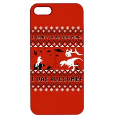 I Wasn t Good This Year, I Was Awesome! Ugly Holiday Christmas Red Background Apple iPhone 5 Hardshell Case with Stand
