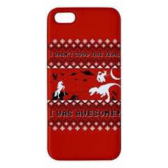 I Wasn t Good This Year, I Was Awesome! Ugly Holiday Christmas Red Background Apple iPhone 5 Premium Hardshell Case