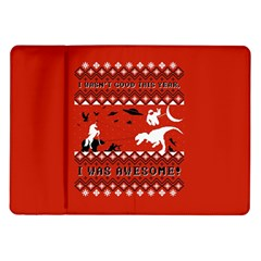 I Wasn t Good This Year, I Was Awesome! Ugly Holiday Christmas Red Background Samsung Galaxy Tab 10.1  P7500 Flip Case