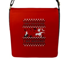 I Wasn t Good This Year, I Was Awesome! Ugly Holiday Christmas Red Background Flap Messenger Bag (L)
