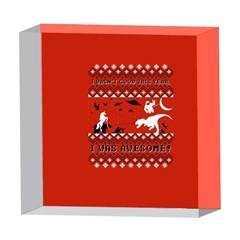 I Wasn t Good This Year, I Was Awesome! Ugly Holiday Christmas Red Background 5  x 5  Acrylic Photo Blocks
