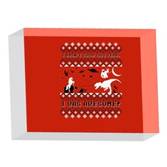 I Wasn t Good This Year, I Was Awesome! Ugly Holiday Christmas Red Background 5 x 7  Acrylic Photo Blocks